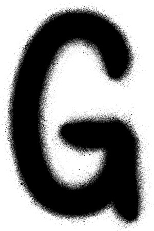 grafitti: sprayed G font graffiti in black over white
