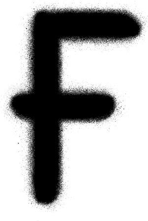 sprayed: sprayed F font graffiti in black over white