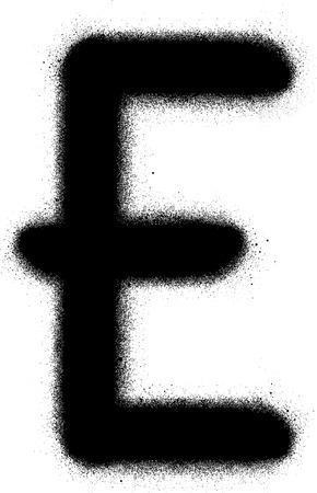 sprayed: sprayed E graffiti font in black over white Illustration