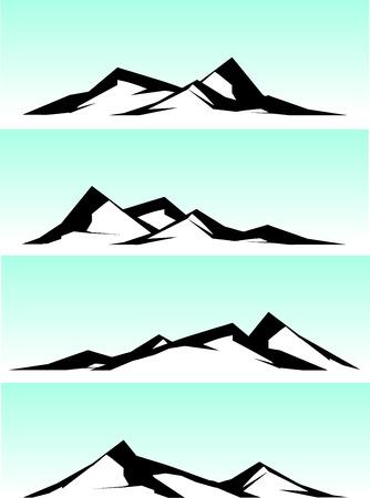 ridge: mountain ridge in black and white on blue background Illustration