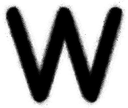 sprayed: sprayed W font graffiti in black over white