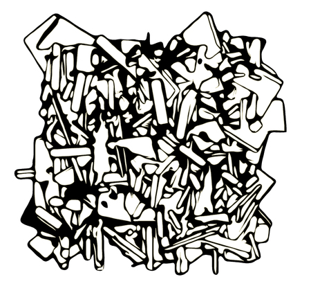 exploded: abstract fragmented sculpture in black and white