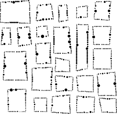 irregular dotted frames in black and white