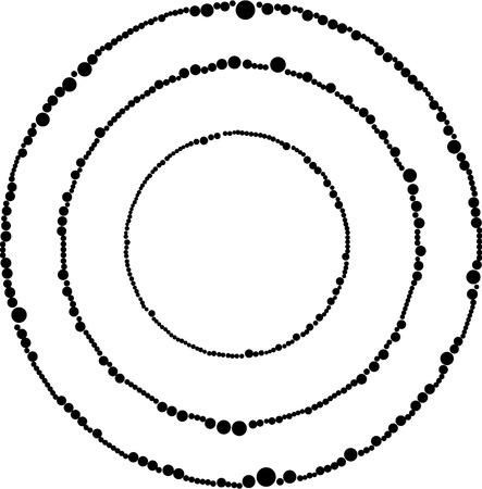 circular dotted frames in black and white