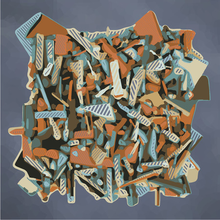 fragmented: abstract fragmented sculpture in blue and orange