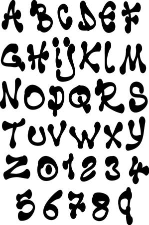 alfabet: fat liquid font and number alphabet over white Illustration