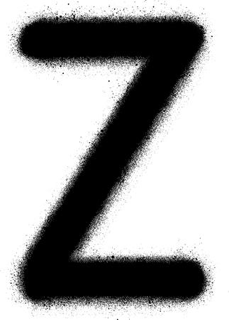 sprayed: sprayed Z font graffiti in black over white Illustration