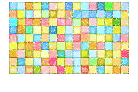 cheerfull: mixed tile wall drawn with color pencil