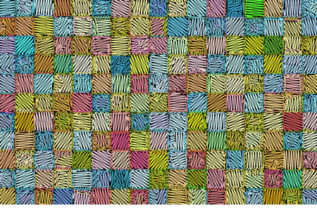 hatched: mixed tiled surface drawn hatched in multiple colors