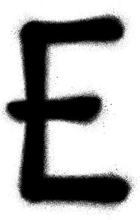 sprayed: sprayed E font graffiti in black over white