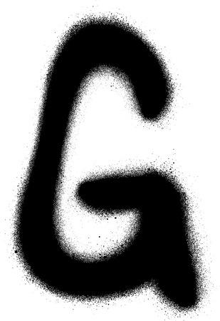 sprayed: sprayed G font graffiti in black over white