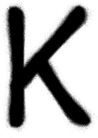 sprayed: sprayed K font graffiti in black over white