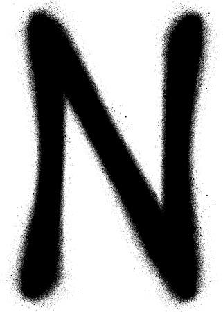 sprayed: sprayed N font graffiti in black over white