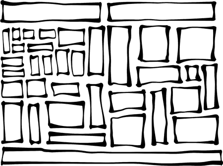 handdrawn: hand-drawn rectangle and square shapes over white