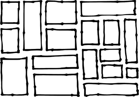 grouping: hand-drawn rectangle and square shapes over white