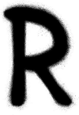 sprayed: sprayed R font graffiti in black over white