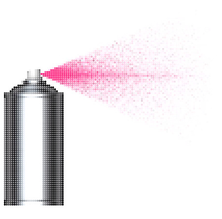 pink bubbles: bubble spray can spraying pink bubbles over white Illustration