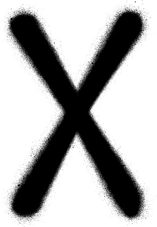 sprayed: sprayed X font graffiti in black over white Illustration
