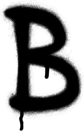 sprayed: sprayed B font graffiti with leak in black over white