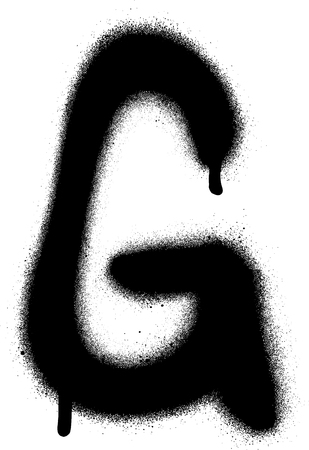 sprayed: sprayed G font graffiti with leak in black over white