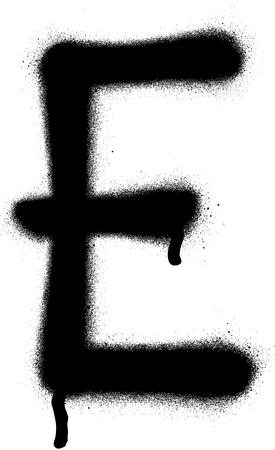 sprayed: sprayed E font graffiti with leak in black over white Illustration