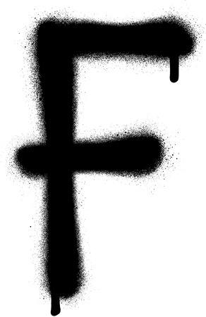 sprayed: sprayed F font graffiti with leak in black over white