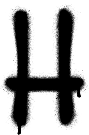 the leak: sprayed H font graffiti with leak in black over white