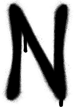 the leak: sprayed N font graffiti with leak in black over white Illustration