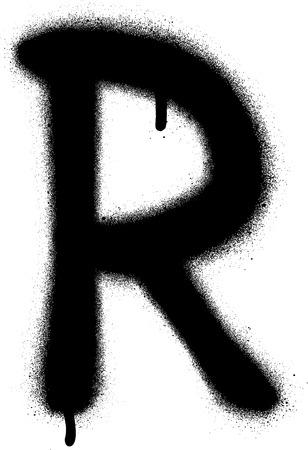 sprayed: sprayed R font graffiti with leak in black over white Illustration