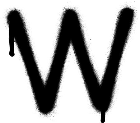 sprayed: sprayed W font graffiti with leak in black over white Illustration