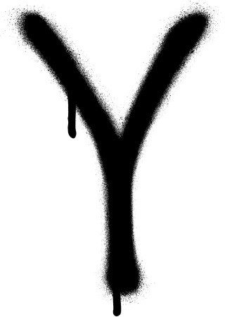 the leak: sprayed Y font graffiti with leak in black over white Illustration