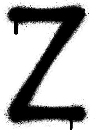 sprayed: sprayed Z font graffiti with leak in black over white
