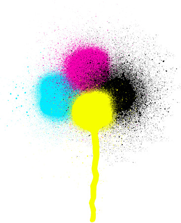 sprayed: CMYK graffiti leaking drip sprayed element over white
