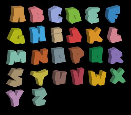alfabet: 3D graffiti color fonts alphabet over black