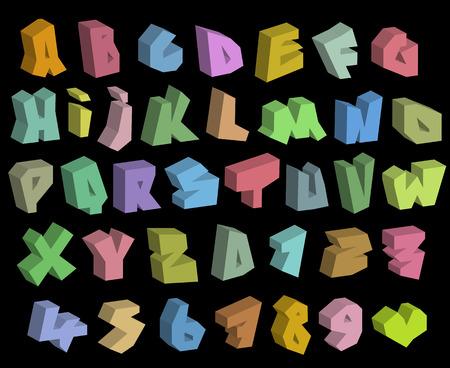 tagging: 3D graffiti color fonts alphabet and number over black