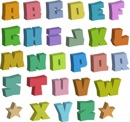 alfabet: 3D graffiti blocky color fonts alphabet over white