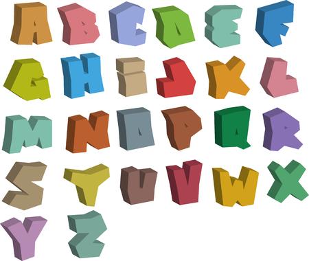 3D graffiti color fonts alphabet over white Ilustrace
