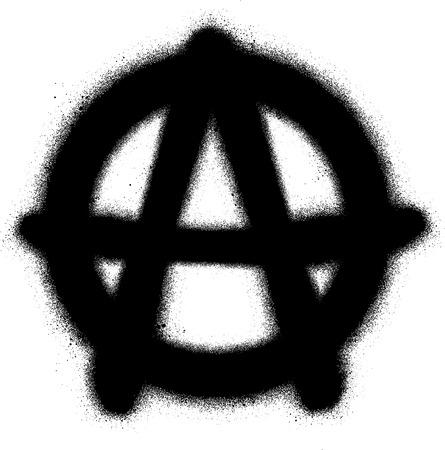 rebellious: graffiti anarchy icon sprayed in black on white
