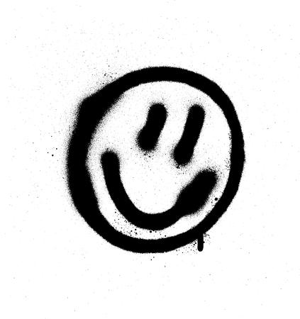 Graffiti lachende gezicht emoticon in zwart op wit Stock Illustratie