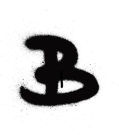 sprayed B font graffiti with leak in black over white