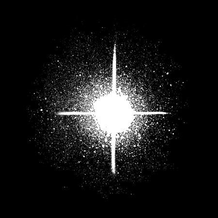 graffiti sprayed star shape in white on black