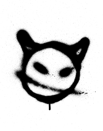 sprayed: graffiti sprayed devil emoticon in black on white