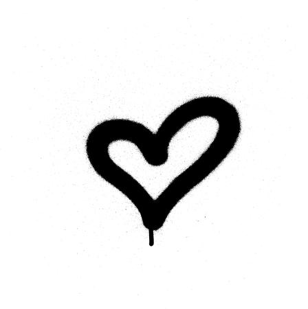 sprayed graffiti heart in black on white Ilustrace