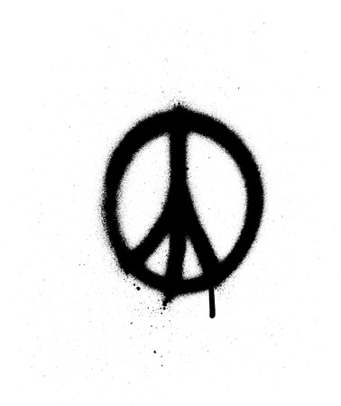 peace sign graffiti spray in black over white