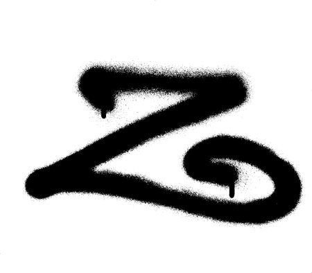 sprayed curly Z font graffiti with leak in black over white