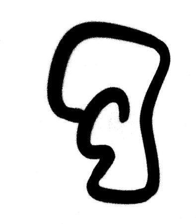 graffiti Bubble Font number 7 in black on white Illustration