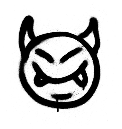 graffiti sprayed devil emoticon in black on white
