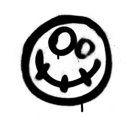 Graffiti Scary Happy Emoji in schwarz auf weiß Vektorgrafik
