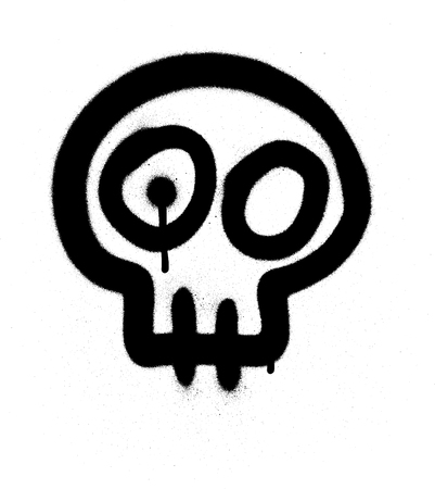 Graffiti emoji skull sprayed in black on white