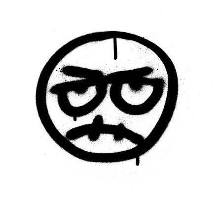 graffiti angry emoji sprayed in black over white